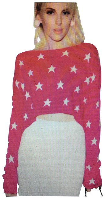 Wildfox Couture Starlight Cropped Billy Pink Sweater Wildfox Couture Starlight Cropped Billy Pink Sweater Image 1