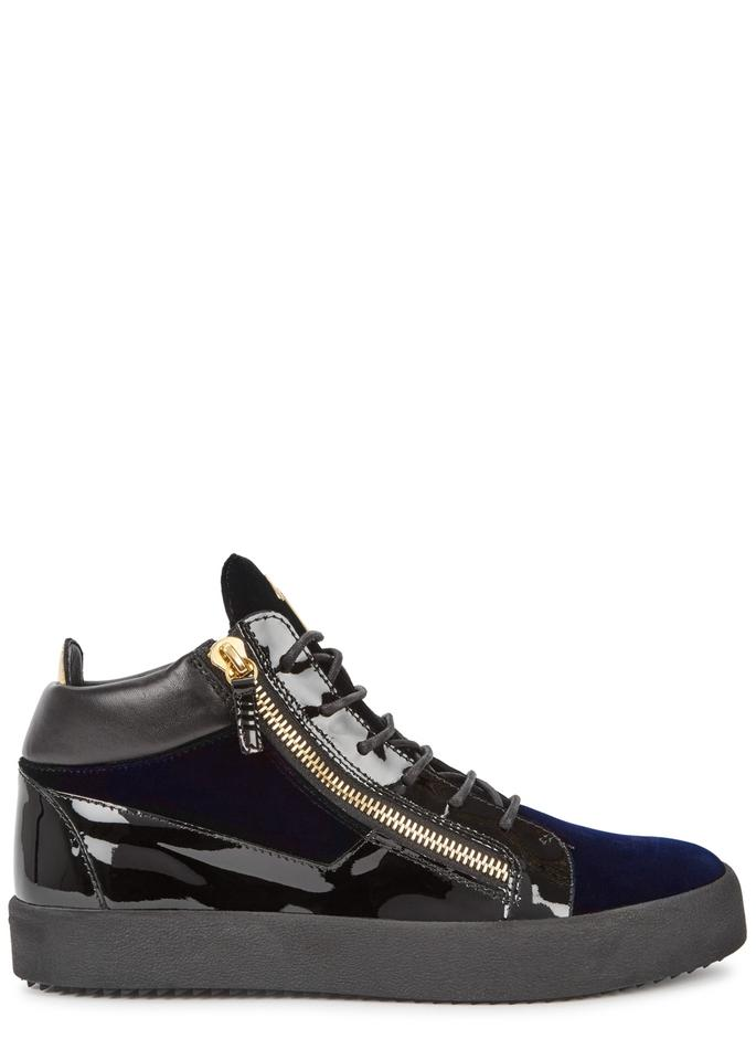 e3183928c9b8e Giuseppe Zanotti Black / Navy Kriss Velvet and Patent Leather Sneakers