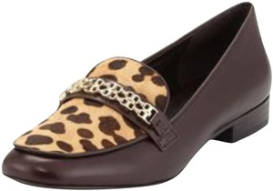 Tory Burch Animal Print Leather Chic Brown Flats