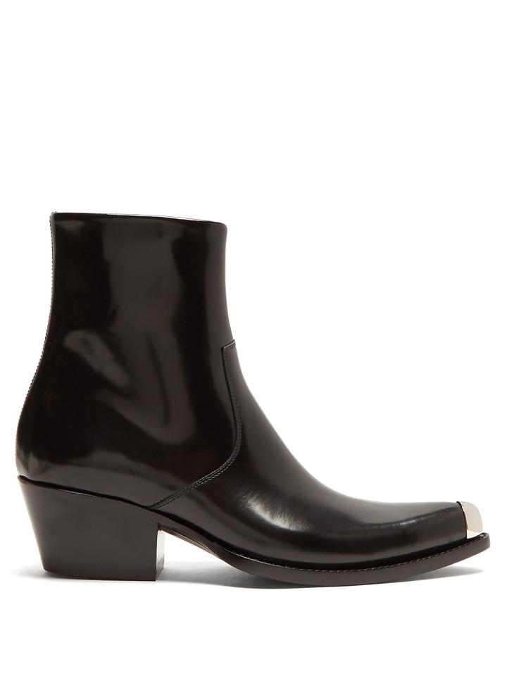 bd2e819679c Calvin Klein 205W39NYC Black Tex Chiara Ss18 Runway Leather Ankle Boots Booties.  Size  EU 38 ...