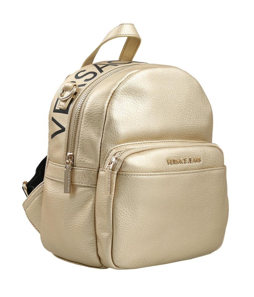 33b63de68976 Versace Jeans Collection Small Gold Faux Pebbled Leather Backpack ...