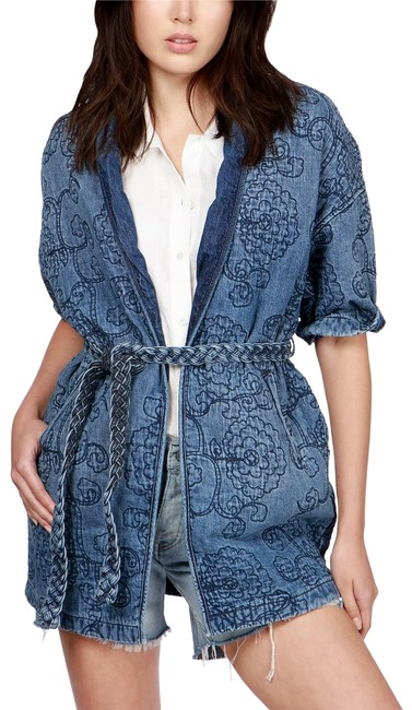 Item - Blue Denim Kimono Quilted Jacket Size 4 (S)