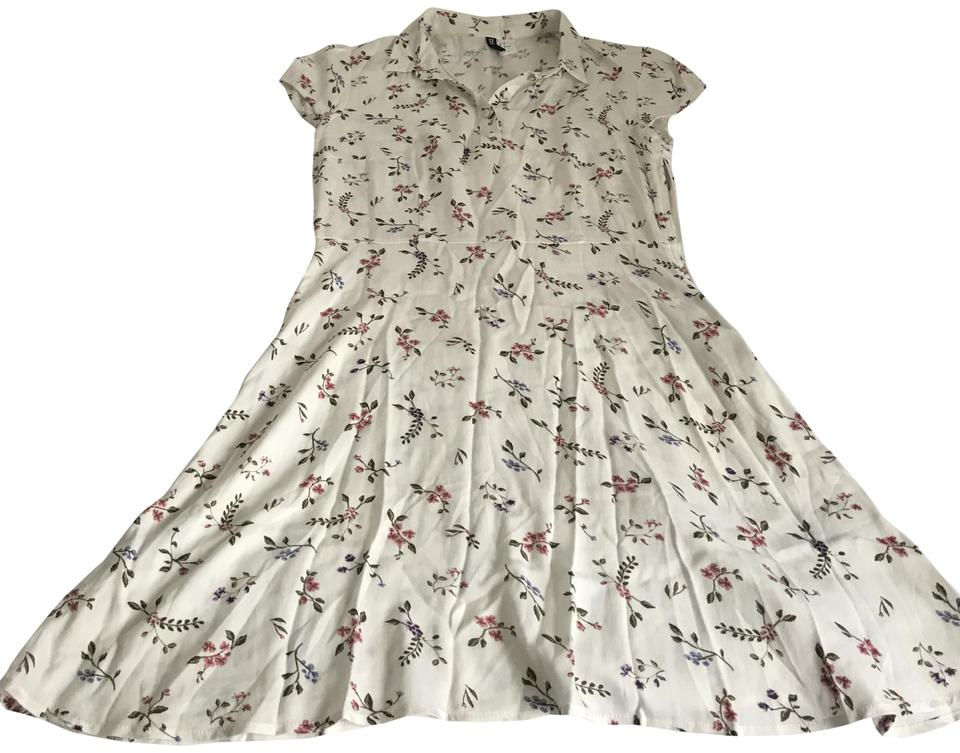 609968c57ad5 Divided by H&M short dress White with floral print Retro on Tradesy Image 0  ...