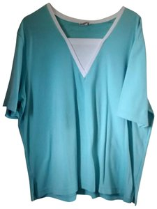 Bon Worth Straight Sleeve Easy Wash And Wear T Shirt Aqua with white