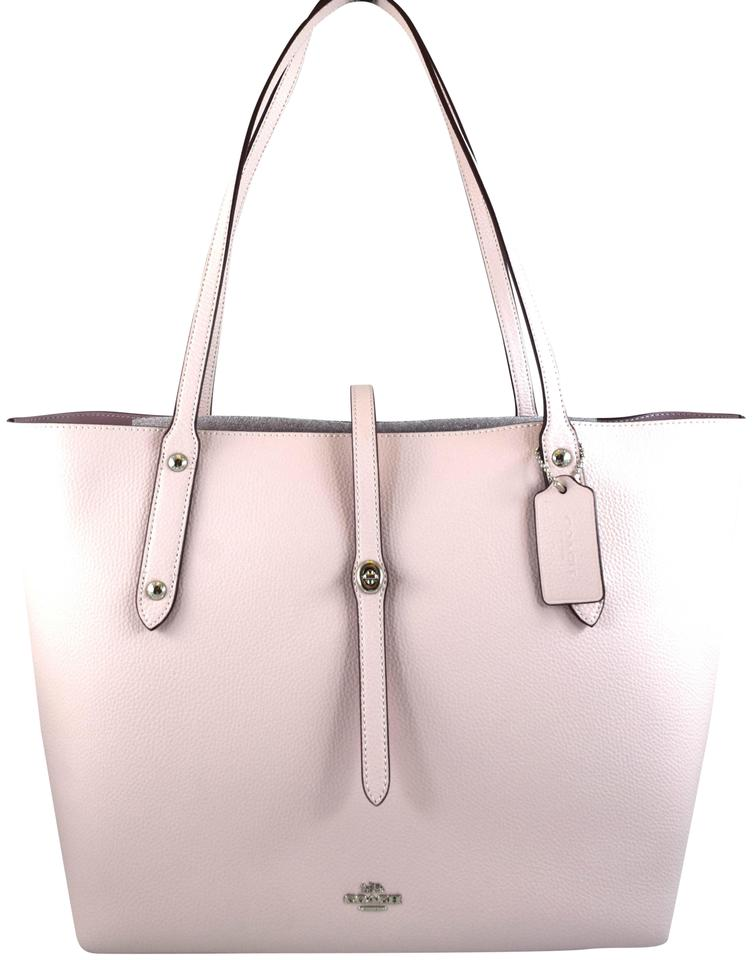 f847acafbd Coach Market Polished Pebble Ice Pink Leather Tote - Tradesy