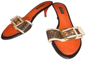 Louis Vuitton ORANGE, TAN , BROWN LEATHER & GOLD HARDWARE Mules