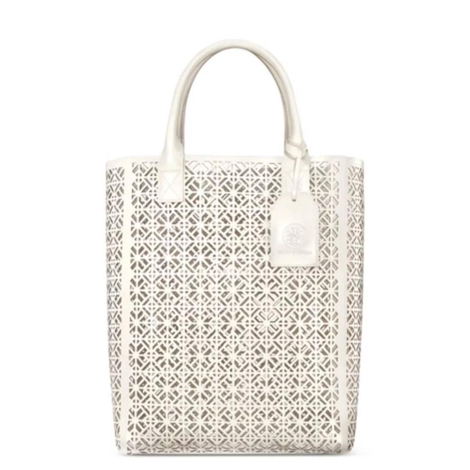 5669c1bfe0d Tory Burch Large Lace-perforated Patent Limited White Ivory Pvc Tote ...