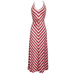 pink Maxi Dress by Cynthia Rowley Chevron Coral Maxi Strappy Wrap Belt