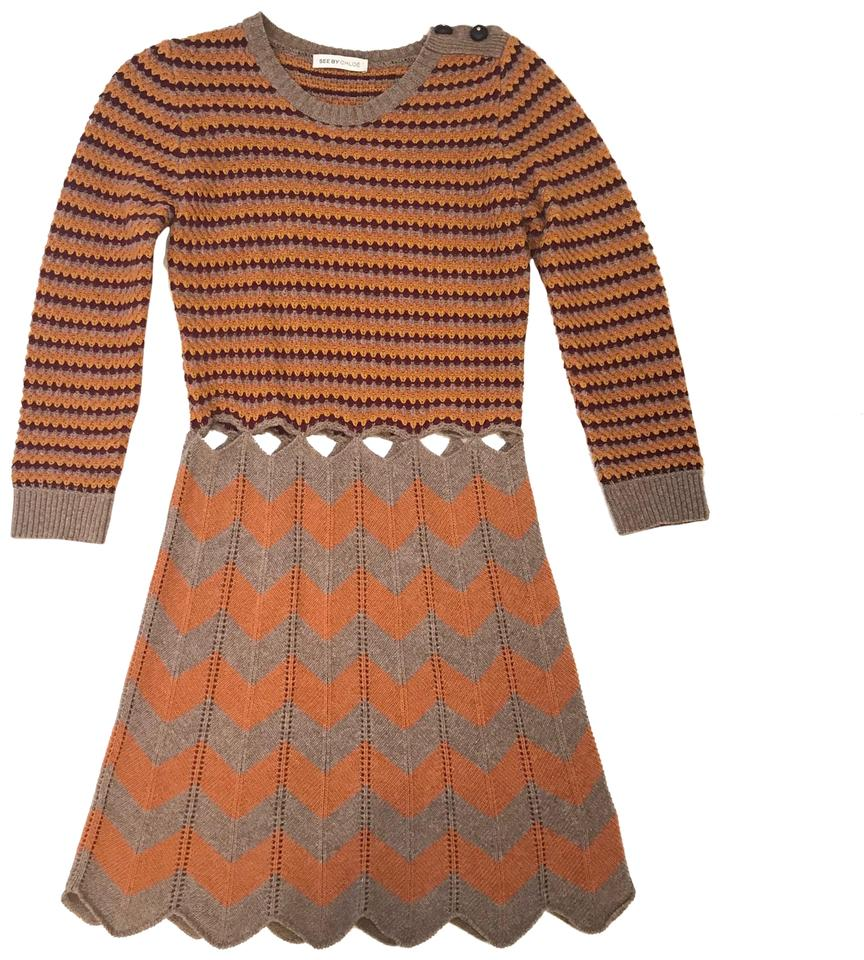 661b12a1c7 See by Chloé Brown/Orange Wool 40 Mid-length Short Casual Dress Size ...