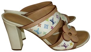 Louis Vuitton white murakami with multi-color logo Mules