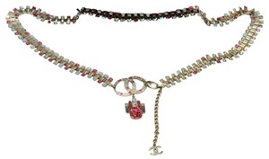 Chanel Chanel Gold Belt Pink Crystal CC Size 36 2005