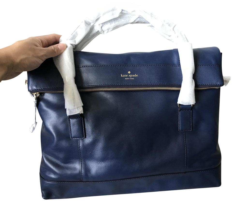 88575e194 Kate Spade Fremont Place Carmen Blue Leather Weekend/Travel Bag ...