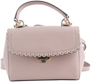cef4b90e6ae6 Michael Kors Ava Extra-small Scalloped Soft Pink Rose Gold Leather ...