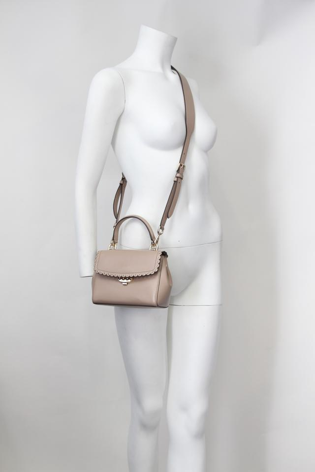 Michael Kors Extra small Taupe Scalloped Ava Brown Leather Cross Body Bag 6% off retail