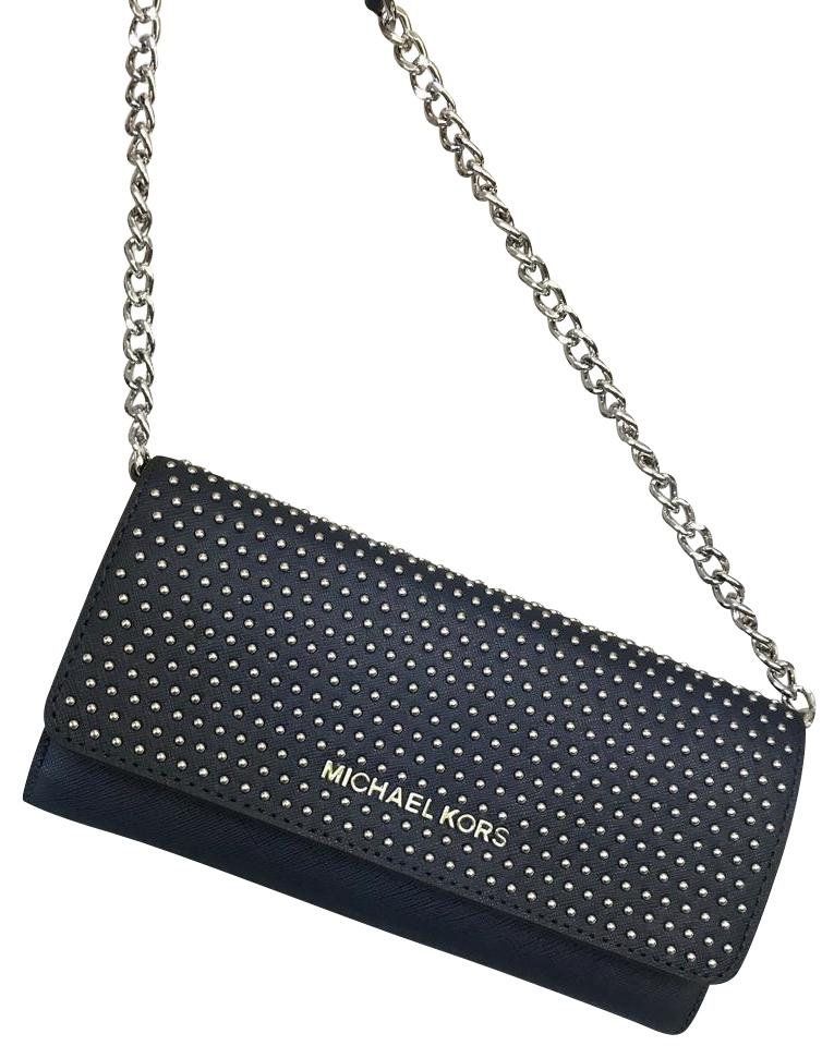 0913c2b120d0 Michael Kors Wallet on Chain Micro Stud Navy Saffiano Leather Cross Body  Bag 60% off retail
