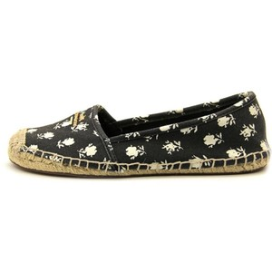 Coach Espadrille Loafer Canvas Floral Soft Black with White Flowers Flats