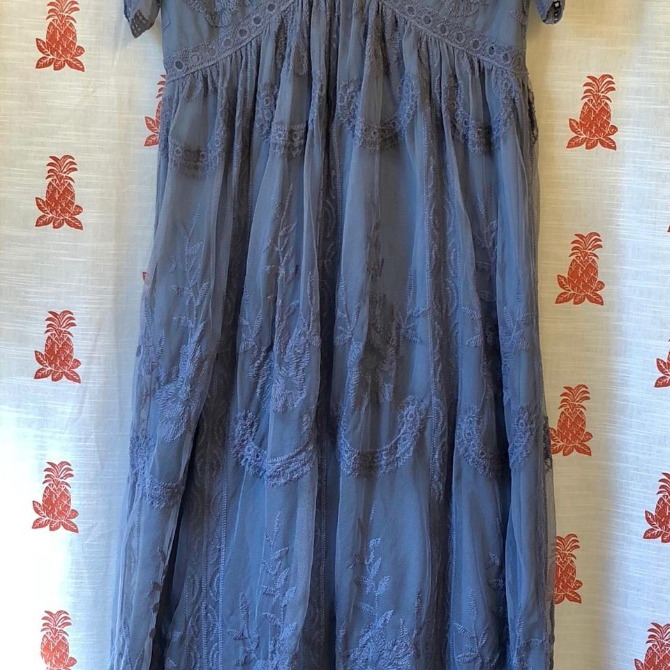 df4a93d8ee675 PinkBlush Dusty Blue Lace Mesh Overlay Maxi Maternity Dress Size 10 ...