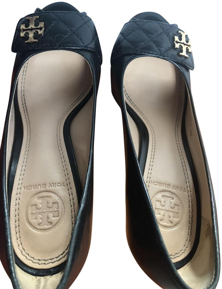 7316a7a3a68599 Tory Burch Black Leila 100 Mm Open Toe -mestizo Quilted Wedges Size ...