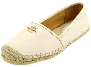 Coach Espadrille Loafer Lambskin Leather Driving Ivory Cream Chalk Flats