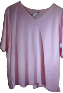 Bon Worth Embroidered Vee Neck Sleeve T Shirt Pink