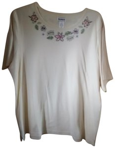 Bon Worth Straight Cut Sleeve Side Vents Embroidered T Shirt Ivory