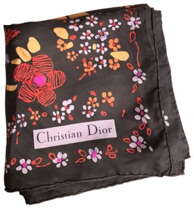 "Dior VINTAGE CHRISTIAN DIOR BLACK SILK SCARF WITH MULTI-COLOR FLORAL PRINT-30"" by 30"""
