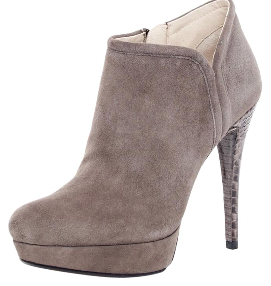 75219416ca7 MICHAEL Michael Kors Suede Snakeskin Stiletto Ankle Grey Boots Image 0 ...