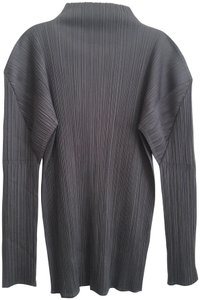 Issey Miyake Pleated Modern Japanese Mock Turtleneck Top Steel Grey
