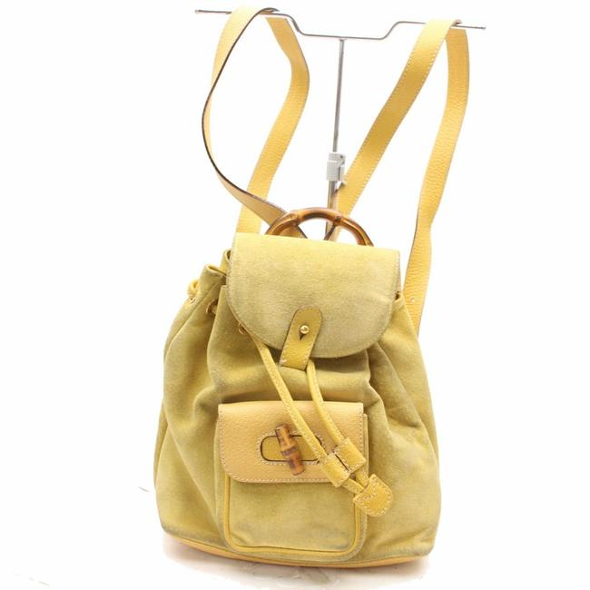 Item - Bamboo 867509 Yellow Suede Leather Backpack