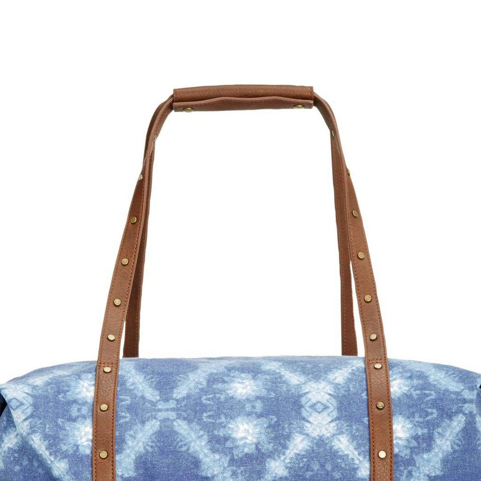 Style   Co Co. Women s Extra-large Duffle Blue Tie Dye Canvas Faux Leather  Weekend Travel Bag - Tradesy 31b28baced