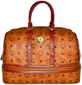 MCM Sac Sport Carry On Duffel Luggage Visetos Cognac Travel Bag