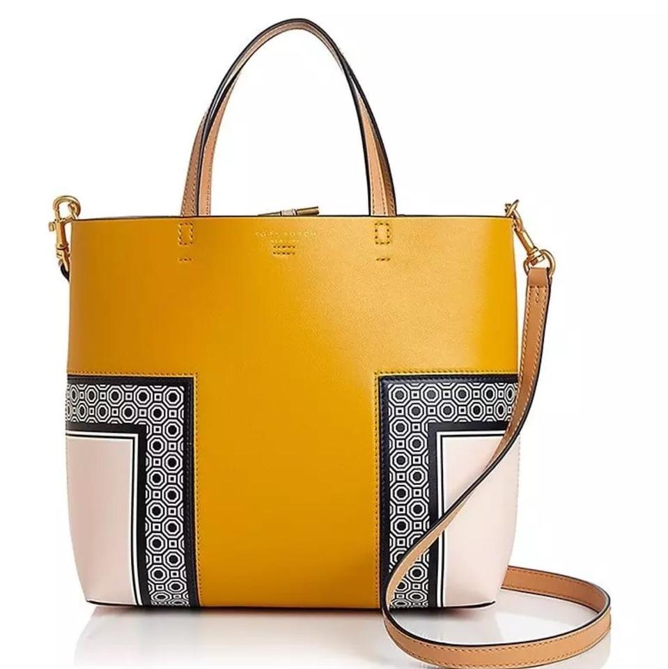 929e61847357 Tory Burch T Block Printed Octagon Square Scarf Leather Tote - Tradesy