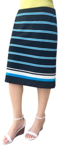 Cato Striped Stretchy Machine Washable Pencil Skirt Blue