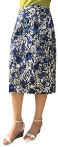 Grace Elements Vintage Pencil Comfortable Stretchy Floral Skirt Black, white and blue