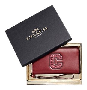 Coach Wristlet in Gold Crimson Red