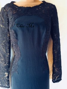 Tadashi Shoji Navy Crepe Kinglet Gown Formal Bridesmaid/Mob Dress Size 8 (M)