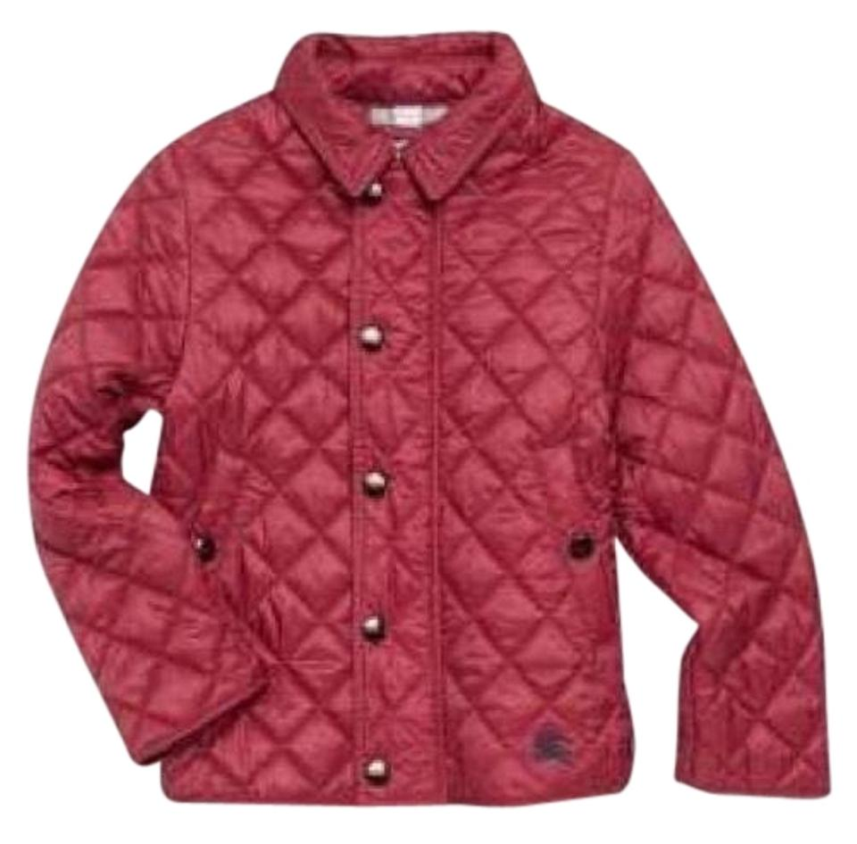 Burberry Burgundy Kids Lyle Quilted Snap Jacket Girls Coat Size