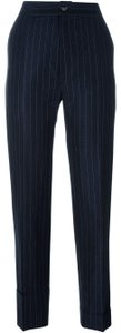Navy Blue Maxi Dress by Jacquemus Striped Trouser Cuffed Pant Pinstripe Wool Trouser