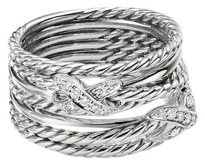 David Yurman David Yurman Double X Crossover Ring with Diamonds, size 6
