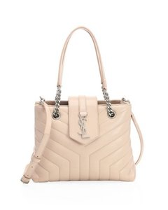 Saint Laurent Ysl Marble Matelasse Shoulder Satchel in Soft Pink