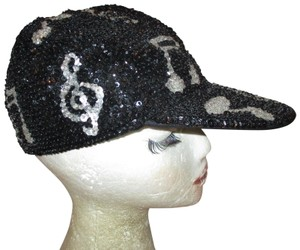 jc sequined & beaded music notes cap