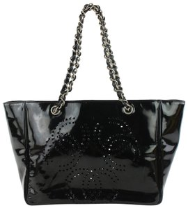 Chanel Shopper Perforated Chain Gst Neverfull Tote in Black