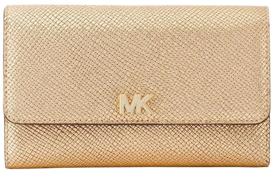 a8c4cd38b0d26 Michael Kors Gold Medium Multi-function Clutch Wallet - Tradesy