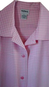 Bon Worth Button Front Jacket Yoked Light Weight Long Sleeve Button Down Shirt Pink & white