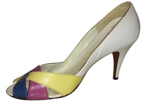 Babette white. blue/ yellow/ pink Pumps