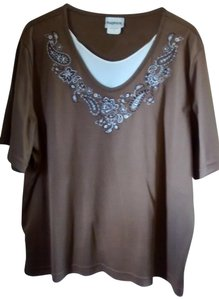 Bon Worth Straight Cut Sleeve Embroidered T Shirt brown