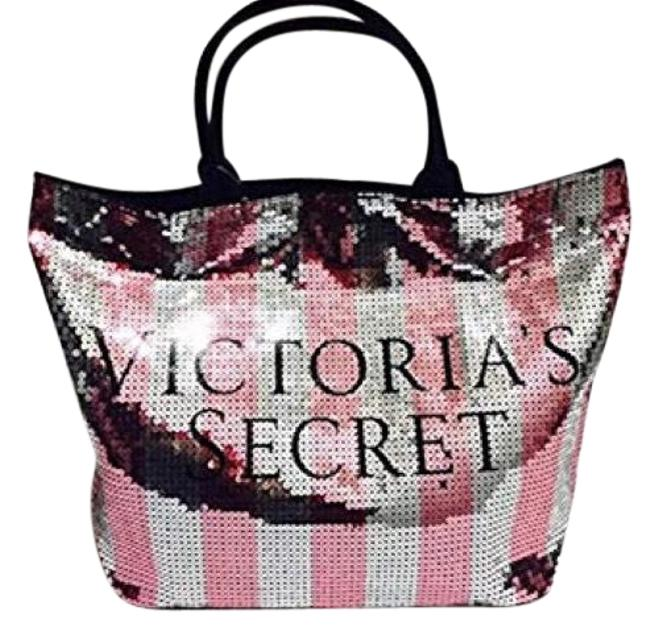 Item - Tote Sequined Pink Silver Black Canvas Beach Bag