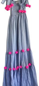 Light blue dress with fun neon pink Pom-Poms. Maxi Dress by Pippa Holt