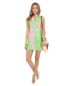 Lilly Pulitzer short dress PINK POUT FLAMENCO Bright Shift Bamboo Gold Hardware Summer on Tradesy