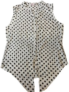 Pixley Top White with black polka dots